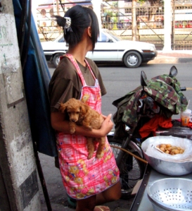Woman with her dog: Thai street food booth
