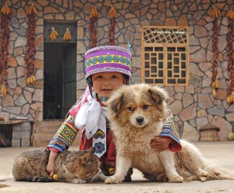 Asian child with cat and dog.